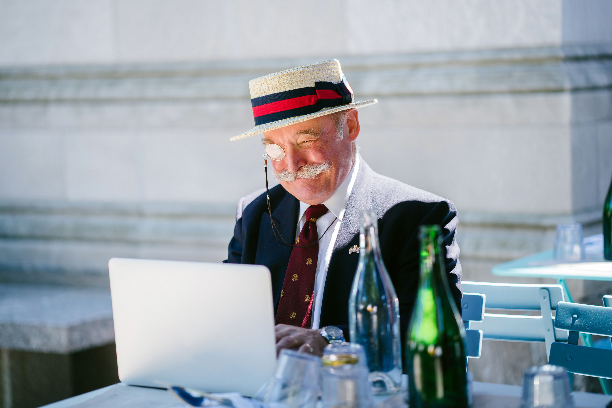 Fancy senior enjoying streaming services