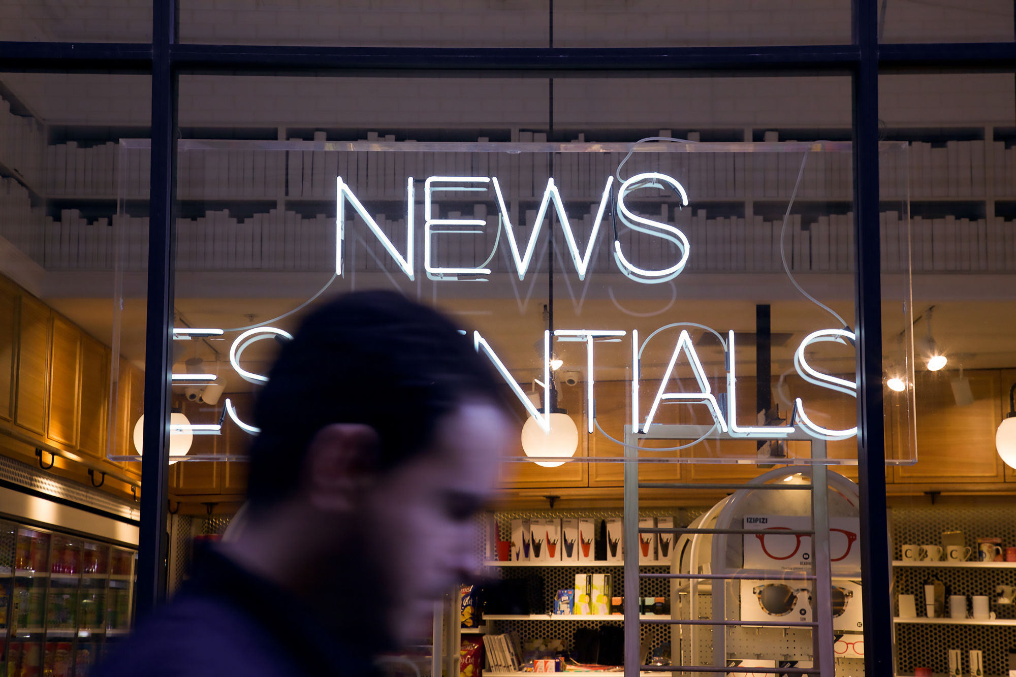 News sign in window